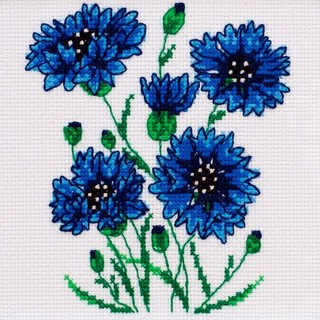 "Cross stitch embroidery kit ""Cornflowers"""