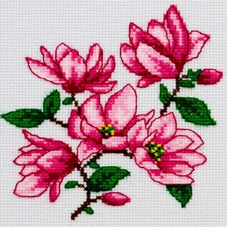 "Cross stitch embroidery kit ""Magnolias"""