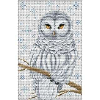 "Cross stitch embroidery kit ""Snow Owl"""