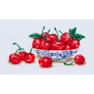 "Cross stitch embroidery kit ""Cherry Blues"""