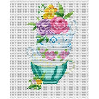 "Cross stitch embroidery kit ""Flower Tea-fight"""