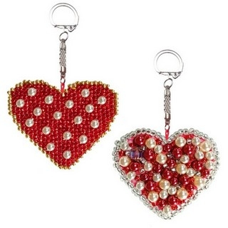 "Kit with seed beads ""Keychains ""Two Hearts"""