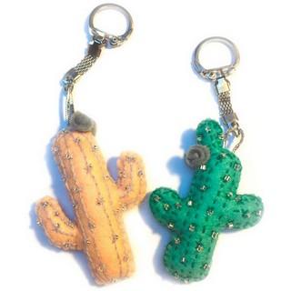 """DIY felt kit with seed beads """"Keychains """"Two Cactuses"""""""