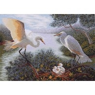 Cross stitch embroidery kit ''Herons""