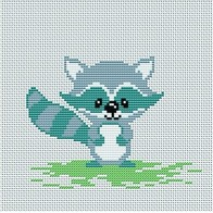 Cross stitch embroidery kit ''Raccoon""