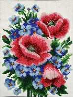 """Kit with seed beads """"Poppies and Cornflowers"""""""