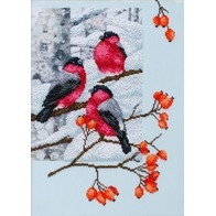 Bullfinches in a Dog-rose