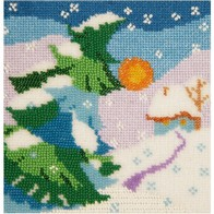Embroidery kit with beads and muline DMC ''Winter""