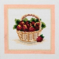 Embroidery kit with beads and muline DMC ''Strawberry""