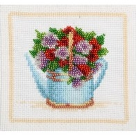 Embroidery kit with beads and muline DMC ''Garden Flowers""