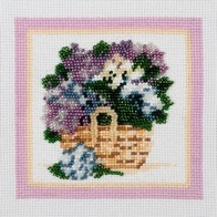 Embroidery kit with beads and muline DMC ''Spring Flowers""