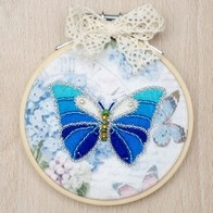Kit with seed beads and muline DMC ''Butterfly""