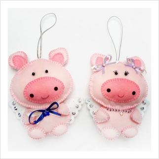 "Felt DIY kit ""Decorative Toys ""Piggies"""